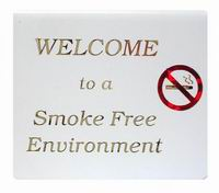 'WELCOME TO A SMOKE FREE ENVIRONMENT' Table Sign Gold/Red On White (Hangsell)