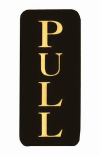'Pull' (Vertical) Gold On Black (Pack 5)